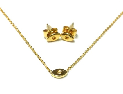 MY KITSCH - 14kt Gold Plated Eye Necklace & Earring set.