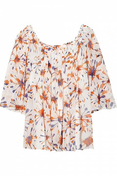 Milly - Firework printed silk-chiffon top $114.98