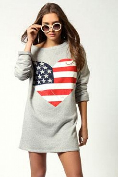 Courtney 3/4 Sleeve American Flag Sweater Dress