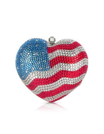 Julia Cocco US Flag Crystal Jeweled Heart Clutch $630.00