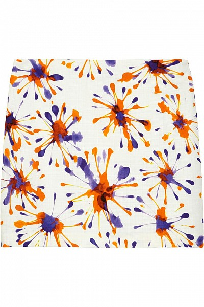 Milly Firework printed cotton-blend broadcloth mini skirt $65.00
