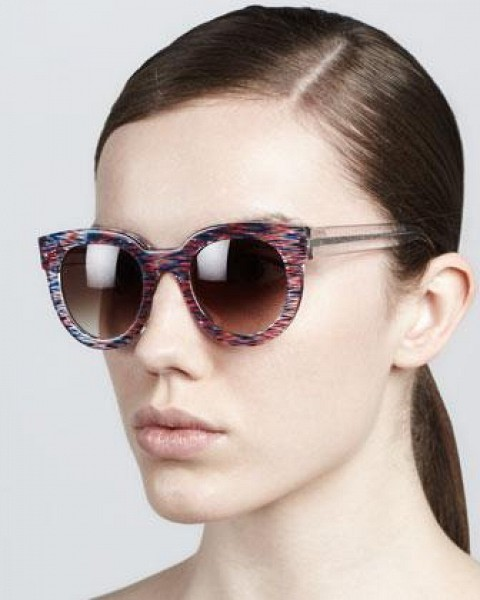 Women's Thierry Lasry Therapy Large Round Sunglasses, Red/White/Blue $385.00