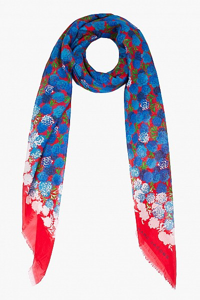 Marc Jacobs Red And Blue Carnation Scarf $112.00