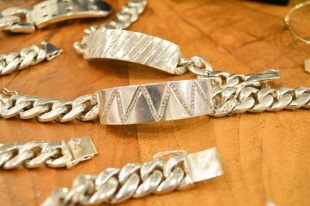 Ann Dexter-Jones Silver ID Bracelet with Diamonds