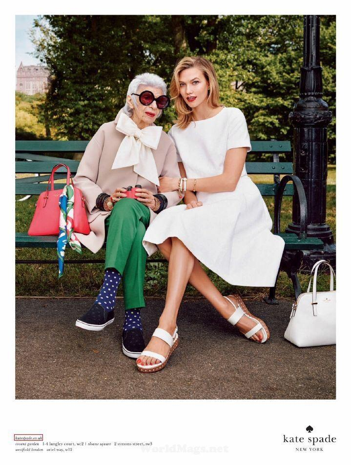 Kate Spade's Spring 2015 Ad. Campaign with Iris Apel & Karlie Kloss.