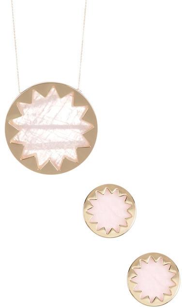 House of Harlow 1960 Rose Quartz Sunburst Pendant Necklace & Button Earrings Set