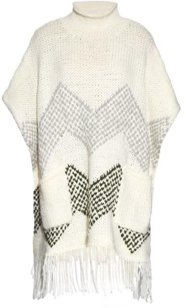 ELIZABETH AND JAMES Oversized fringed-hem knit poncho