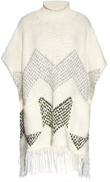 ELIZABETH AND JAMES Oversized fringed-hem knit poncho