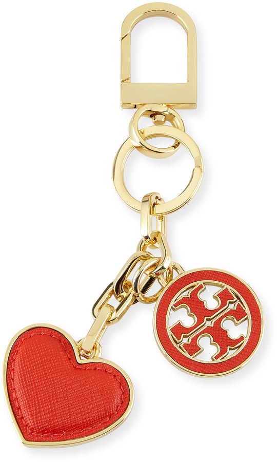 Tory Burch Logo & Heart Charm Key Fob, Poppy Red