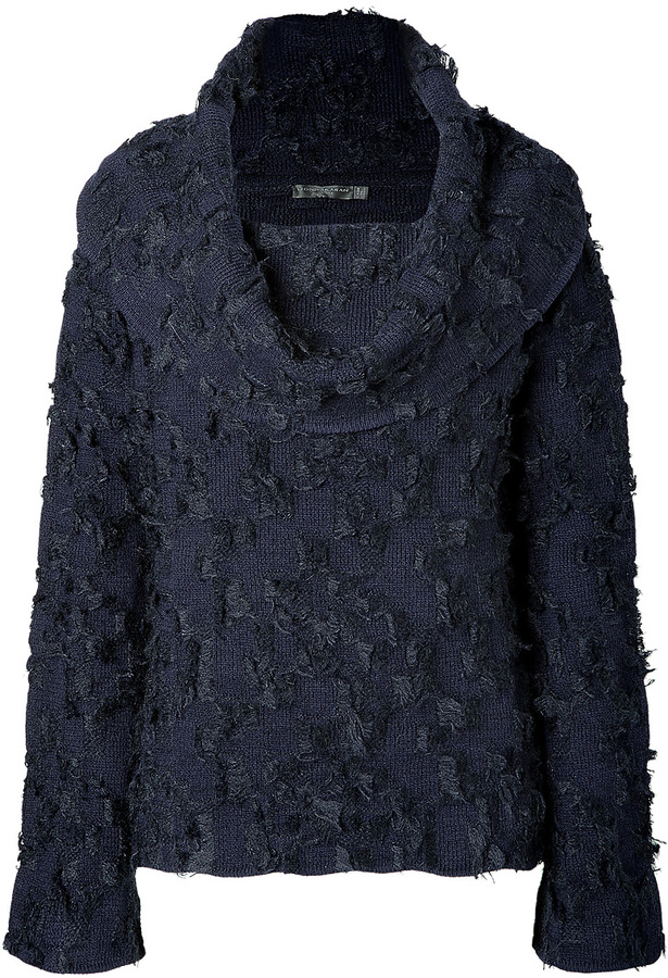 Donna Karan New York Wool-Mohair Off-the-Shoulder Pullover