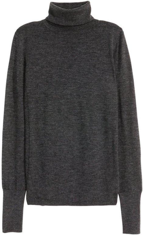 H&M - Cashmere-blend Turtleneck - Dark gray melange