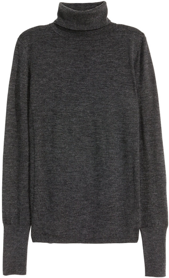 H&M - Cashmere-blend Turtleneck - Dark gray melange
