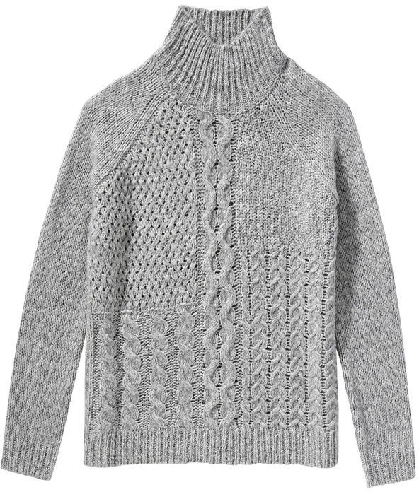 Joe Fresh Cable Knit Turtleneck - Grey Mix