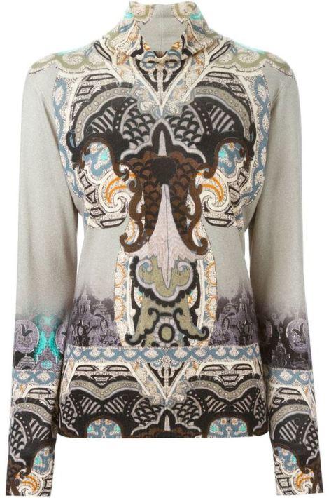 Etro ethnic print turtle neck sweater