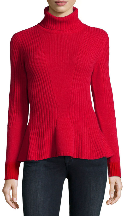 Magaschoni Ribbed Cashmere Turtleneck Peplum Sweater