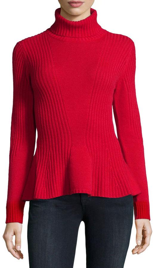 Magaschoni Ribbed Cashmere Turtleneck Peplum Sweater