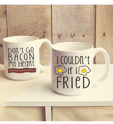 CATHY'S CONCEPTS 'Bacon and Eggs' Ceramic Mugs (Set of 2)