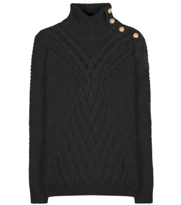 Balmain Mohair and wool-blend embellished turtleneck sweater