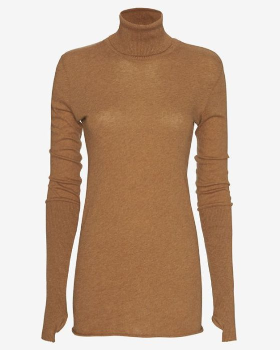Enza Costa Cotton/Cashmere Thumbhole Turtleneck