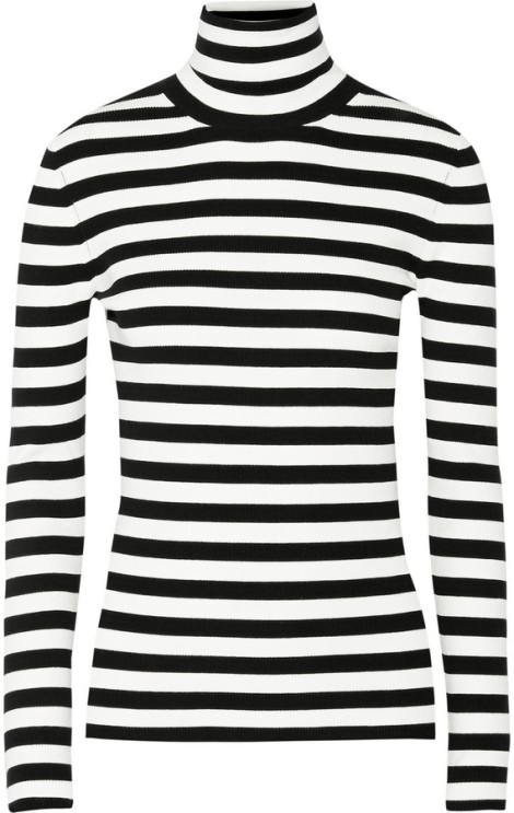 Michael Kors Collection Striped Ribbed-Knit Turtleneck Sweater