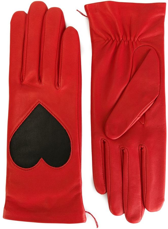 Christopher Kane love heart applique gloves