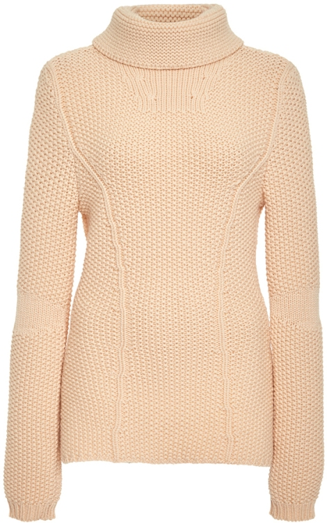 Nina Ricci Peach Virgin Wool Turtleneck Sweater