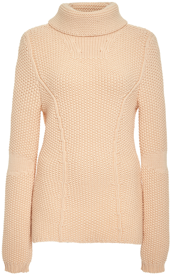 Nina Ricci Peach Virgin Wool Turtleneck Sweater