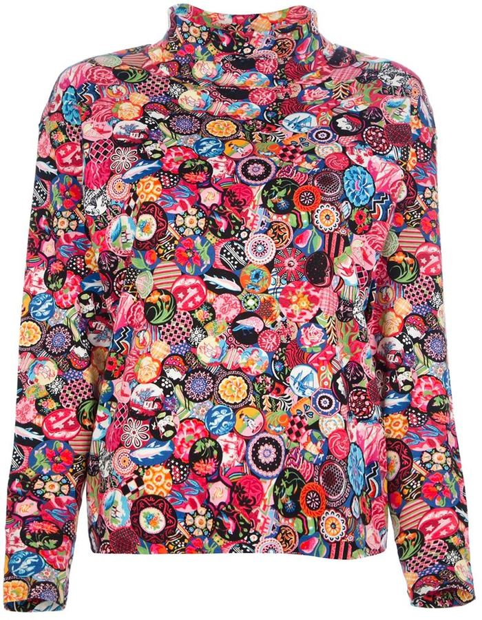 Kenzo Vintage multi-print polo neck top