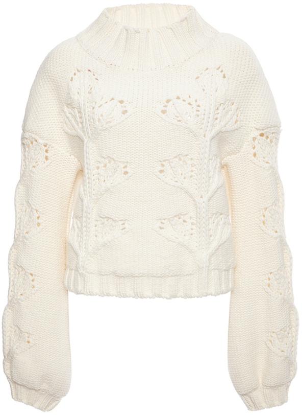 Giamba Ivory Virgin Wool Turtleneck Cableknit Sweater