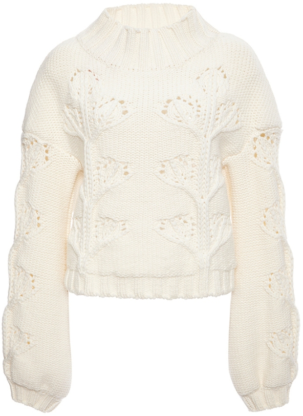 Giamba Ivory Virgin Wool Turtleneck Cableknit Sweater