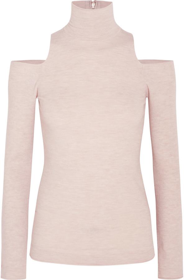 Donna Karan New York Cutout Cashmere-Blend Turtleneck Sweater
