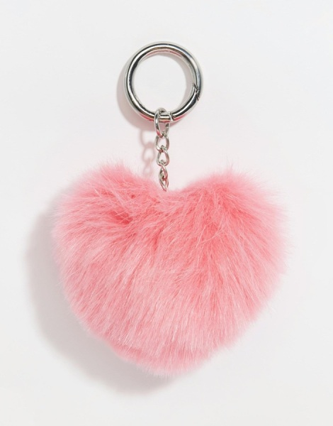 ASOS COLLECTION ASOS Valentines Heart Novelty Pom Keychain