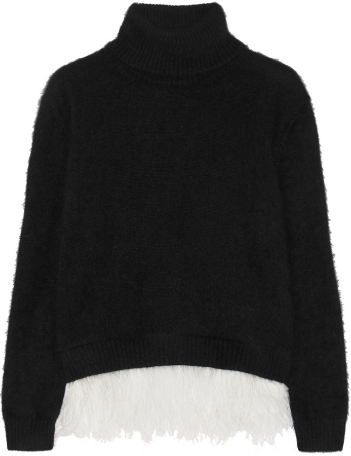 No. 21 Feather-Trimmed Angora-Blend Turtleneck Sweater