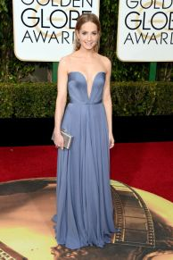 Joanne Froggatt In Reem Acra dress, Jimmy Choo shoes, and Chopard jewelry.