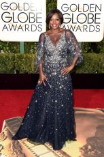Viola Davis In Marchesa dress and Judith Leiber clutch.