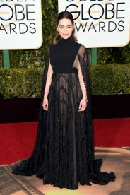Emilia Clarke In Valentino Couture dress and Jimmy Choo shoes.