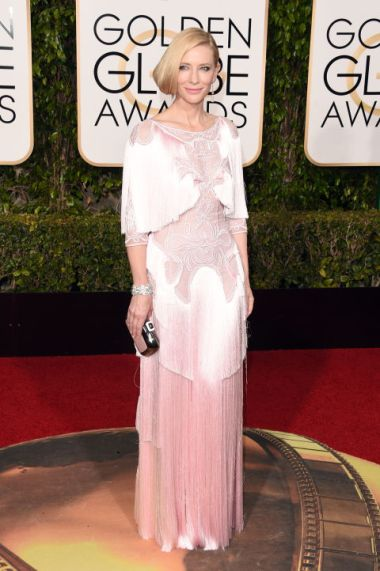 Cate Blachett In Givenchy dress, Roger Vivier clutch, and Tiffany & Co. jewelry.