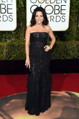 Julia Louis-Dreyfus In Lanvin dress and Salvatore Ferragamo shoes