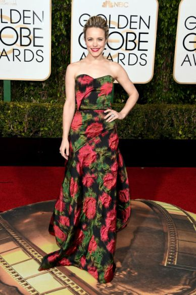 Rachel McAdams In Lanvin dress, Forevermark jewelry, Jimmy Choo shoes, and Salvatore Ferragamo clutch.
